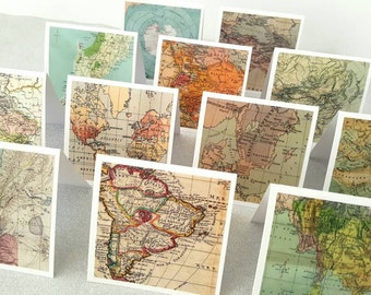Map cards / travel cards / traveller's gift card / Farewell cards / map notecards / long distance relationship cards / mini map cards