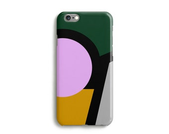 Around The Circle Phone Case, iPhone 7, 6, 6s, Plus, SE, 5s, 5c, geometric colour block cover, Samsung, S8, S8 Plus, Google Pixel, Pink