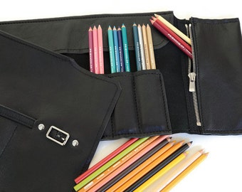Leather Pencil Roll--  Hold 48 pencils