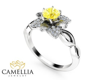 Natural Yellow Diamond Engagement Ring 14K White Gold Flower Ring 0.5 Ct Diamond Engagement Ring