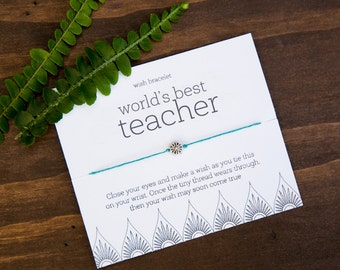 World's Best Teacher, Wish Bracelet, pta teacher appreciation week, teacher thank you cards, Music match small teacher appreciation gift