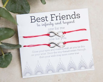 Best Friends to Infinity and Beyond Wish Bracelet, Friendship Bracelet, set of two bracelets, BFF Matching Bracelets, GIft for Best Friend