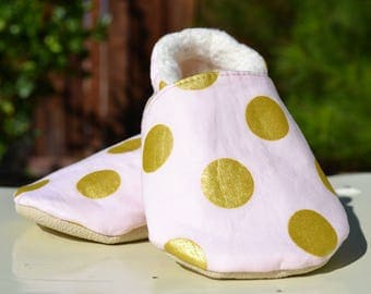 Pink and gold shoe, pink and gold outfit, non slip shoe, first walking shoe, Tippie Toe, baby girl gift, 1st birthday, baby girl shoes