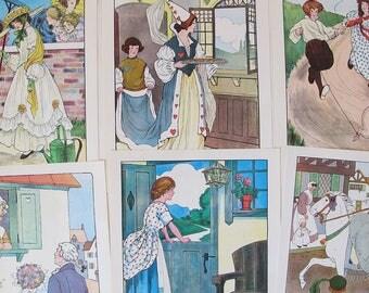 vintage Mother Goose fairy tale illustrations, vintage fairy tale gallery wall art