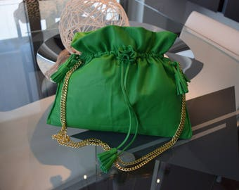 Green tassel bag with mappine, made in Italy