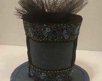 Blue Mini Tophat Fascinator Steampunk