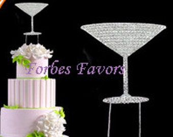 Silver Rhinestone Martini Glass Cake Topper