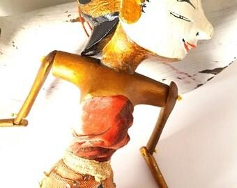 Vintage Balinese wayang golek puppet, gilt wood, handcarved, Balinese goddess. Indonesian antique.