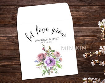 Let Love Grow, Seed Packet Favor, Seed Packet Envelopes, Watercolor Wildflowers, White Wedding Seed Packet, Wedding Favor, Floral x 25