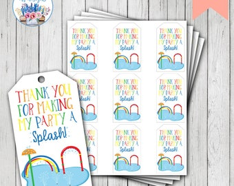 Splish Splash Favor Tags, Splish Splash Birthday, Splash Pad Party, Splash Pad Birthday, Splash Birthday