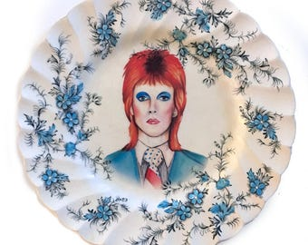 Vintage - Illustrated - David Bowie - Life On Mars - Wall Display - Altered Plate - Saucer - Antique - Upcycled - Art