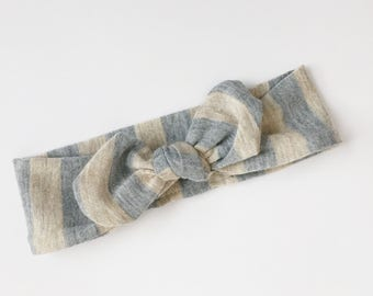 Newborn Topknot, Gray and Oatmeal topknot, Newborn Headband, stripe topknot, knit topknot headband, baby headband, newborn, baby girl