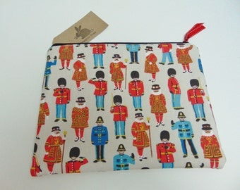 Handmade Cath Kidston XL Makeup Bag, Project Bag, London Foot Guards and Friends, Police Beefeater Pattern Tablet Zip Case