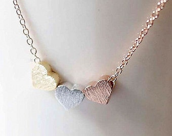 Petite minimalist necklace three hearts bicolor