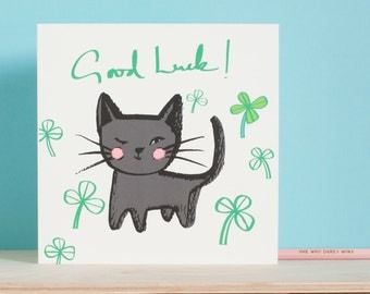 Good luck card, be lucky black cat card, Good luck in your exams card, lucky clover, four leaf clover to wish someone luck with a key event