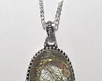 Golden Rutile Pendant Necklace