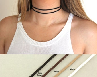 Thin Simple Leather Choker. Black Festival Necklace. Boho Choker. Dainty Jewelry. Double Layer Choker Festival Faux Suede Leather Jewellery