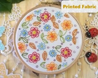 Joyful flowers - Pre Printed Fabric Pattern, Embroidery Pattern, DIY Gift Idea, Hand Embroidery Pattern