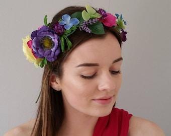 Yellow Purple Pink Blue silk flower crown Multicolored floral crown Bridal headdress Boho crowns hairband Headband Wedding hair accessories