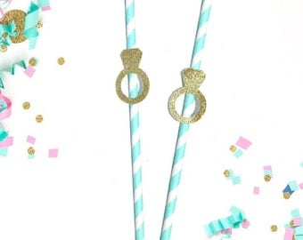 Aqua and White Striped Straws w Gold Glitter Wedding Rings-Bachelorette Party Paper Straws-Sparkly Engagement Ring Straws in Blue and Gold