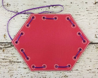 READY TO SHIP 6 Sided Lacing Card, Quiet Game, Toddler Toy, Travel Toy, Party Favor, Learning Toy, Educational, Hands on, Back to School