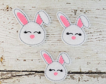 Sweet Bunny Feltie Set of 4 - Clippie Cover - Badge Reel Cover - Craft Supply - Scrapbooking - Card Making - Planner Clip