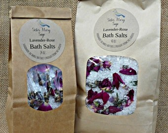 Lavender Rose Bath Salts, handmade, straight from the garden, essential oils, rose petals, lavender flowers, aromatherapy, Sister Mary Sage