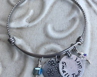 Southern Inspired Small Town Girl Hand Stamped  Stainless Steel Pewter Expandable Bangle Bracelet
