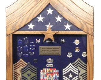 Air Force  Chief Master Sergeant (E9) Shadow Box - 3x5 Flag