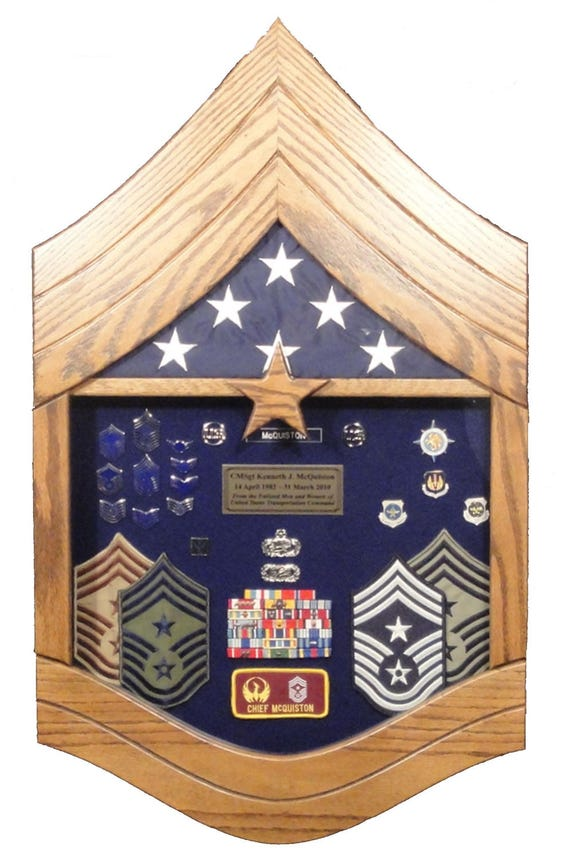 Air Force Chief Master Sergeant E9 Shadow Box 3x5 Flag