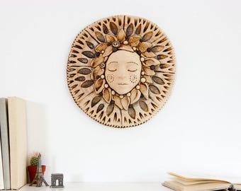 3D Wall Art Goddess sculpture Ceramic Mask Wall Sculpture Ceramic wall art ceramic sculpture Wall Decor Wall Art