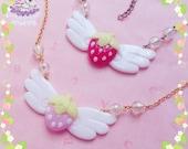 Strawberry angel necklace yumekawaii fairy kei