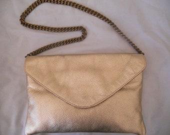 Vintage J Crew Handbag. Genuine Leather Clutch Envelope. Shoulder Bag.Women's Accessory.