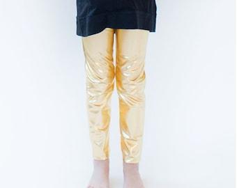 Gold Leggings Gold Kids Leggings Gold Girl's Leggings Gold Baby Leggings Gold Kids Leggings Lame Gold Leggings Gold Pants Gold Outfit