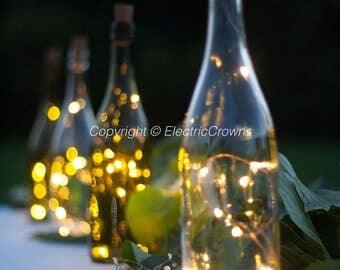 Wine Bottle Crafts,  DIY Wedding, String Lights for Wine Bottles, Wine Centerpiece, Wine Themed Wedding, Battery in Wine Stopper *Leds Only