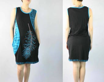 Blue & Black Dress w/ Feather Print/Embroidery