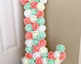 Large Flower Letters, Nursery Flower Letter, Wedding Monogram Letter, Wood Letter, Flower Initial, Baby Shower, Mint and Pink, Floral Letter