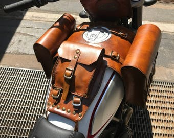 Ducati desertsled Ducati Scrambler leather tank bags with documents holder Cafe racer special Scrambler tank Bags