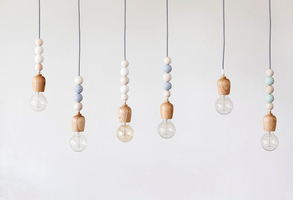 Wood Beaded Light Fixture