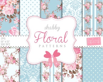 "Shabby chic digital paper : ""Blue Shabby"" rose digital paper with pink roses on blue, blue and white background, decoupage paper"