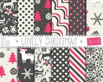 """Christmas digital paper : """" Lovely Christmas"""" dark gray and pink Christmas digital paper for scrapbooking, invites, cards, planner sticker"""