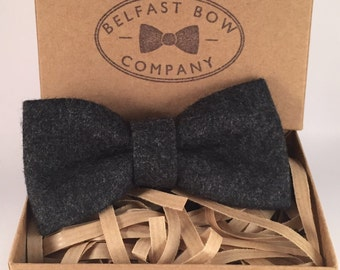 Handmade Wool Blend Bowtie in Slate Grey - Adults & Boy's sizes Available