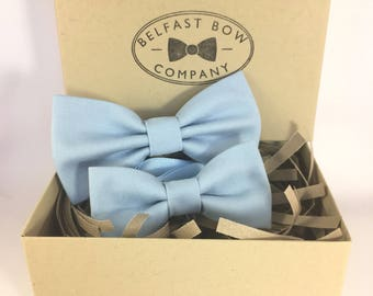 Handmade Father & Son Bow Tie Gift Set in Pale Blue