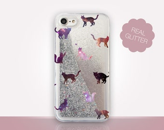 Cats Glitter Phone Case Clear Case For iPhone 8 iPhone 8 Plus - iPhone X - iPhone 7 Plus - iPhone 6 - iPhone 6S - iPhone SE  iPhone 5
