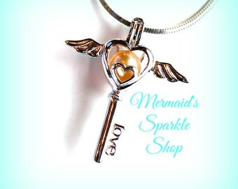 Angel Pearl Cage Pendant, Sterling Pearl Cage Pendant, Angel Cage, Pearl Necklace Sterling Jewelry Angel wings,Pearl & Chain sold separately