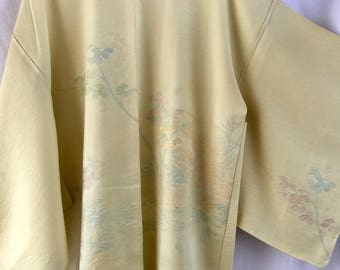 Hagi Flower, Vintage Japanese kimono haori jacket in lemon yellow silk with silver, gold and pink lamé threads