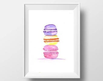 French macaroons watercolor painting kitchen decor kitchen food paris macarons print food art deco wall art kitchen poster picture deco