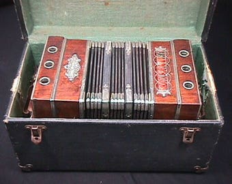 Antique F. Lange Chemnitz Concertina in it's Original Case & Ready to Play She is a Beauty!!!