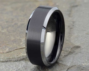 brushed tungsten wedding band mens wedding ring polished edge tungsten ring 8mm mens - Black Mens Wedding Rings