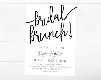 Bridal Shower Brunch Invitation, Brunch and Bubbly, Black and White,  Printable Invitation (847)